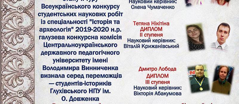 Потрійна перемога істориків у Всеукраїнському конкурсі!